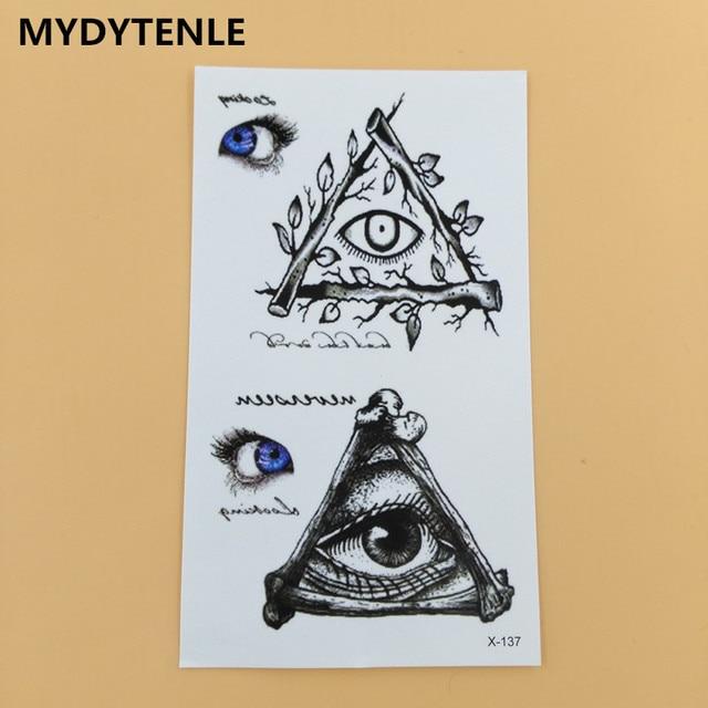 b34288ac3acf0 MYDYTENLE Egypt 3D Blue God Eye Temporary Waterproof Tattoo Triangle Eye  Totem Body Art Flash Tattoo Women Men Fake tattoo