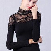 Patchwork lace top female long-sleeve t-shirt stand collar plus size cutout modal t shirt basic spring  autumn 2606
