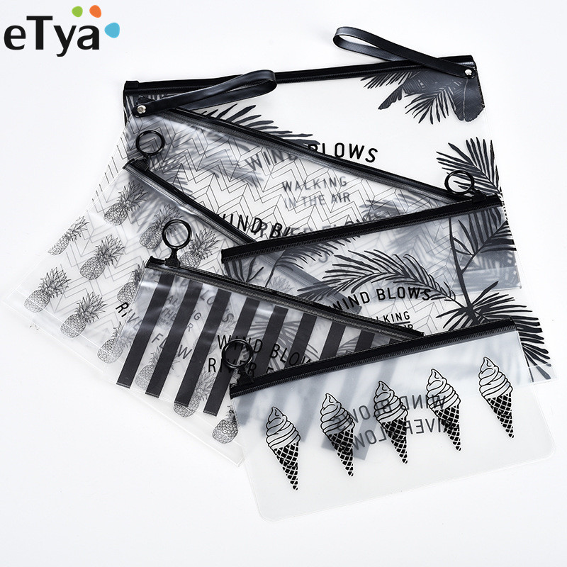 ETya Fashion Travel Women Clear Transparent Cosmetic Bag Small Large PVC Necessary Makeup Bag Case Bath Wash Organizer Set Pouch