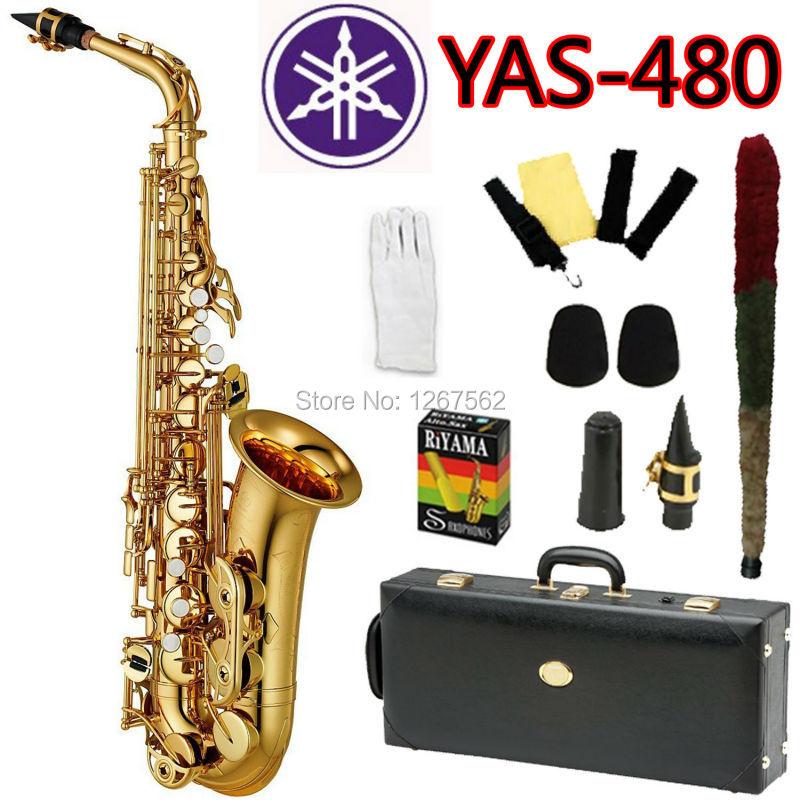 цена  Promotions New High Quality Brand Alto Saxophone YAS-480 Gold Professional Eb Sax mouthpiece With Case and Accessories  онлайн в 2017 году