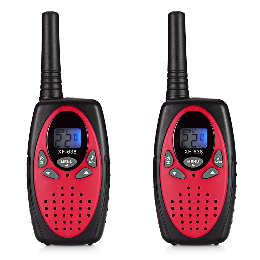 2pcs XF-638 22 Channel Travel Handheld Walkie Talkie Kids Portable 2 Way Transceiver handheld microphone for motorola walkie talkie red