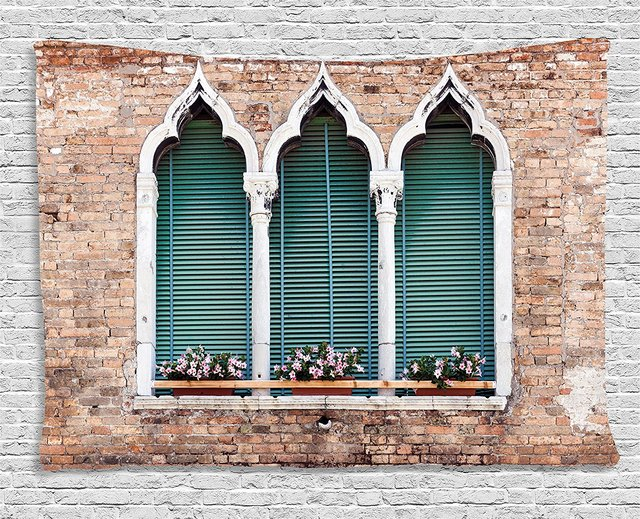 Venice Tapestry Traditional Ancient Gothic Style Windows With Flower Pots On Brick Wall