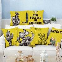 Cotton Linen Throw Pillow Case Cushion Cover Protector Square 18 Decorative Sofa Home Decor Design Cactus