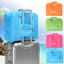2017 Travel use High capacity candy color folding luggage bag air plane printed suitcase addition bag one shoulder storage bag