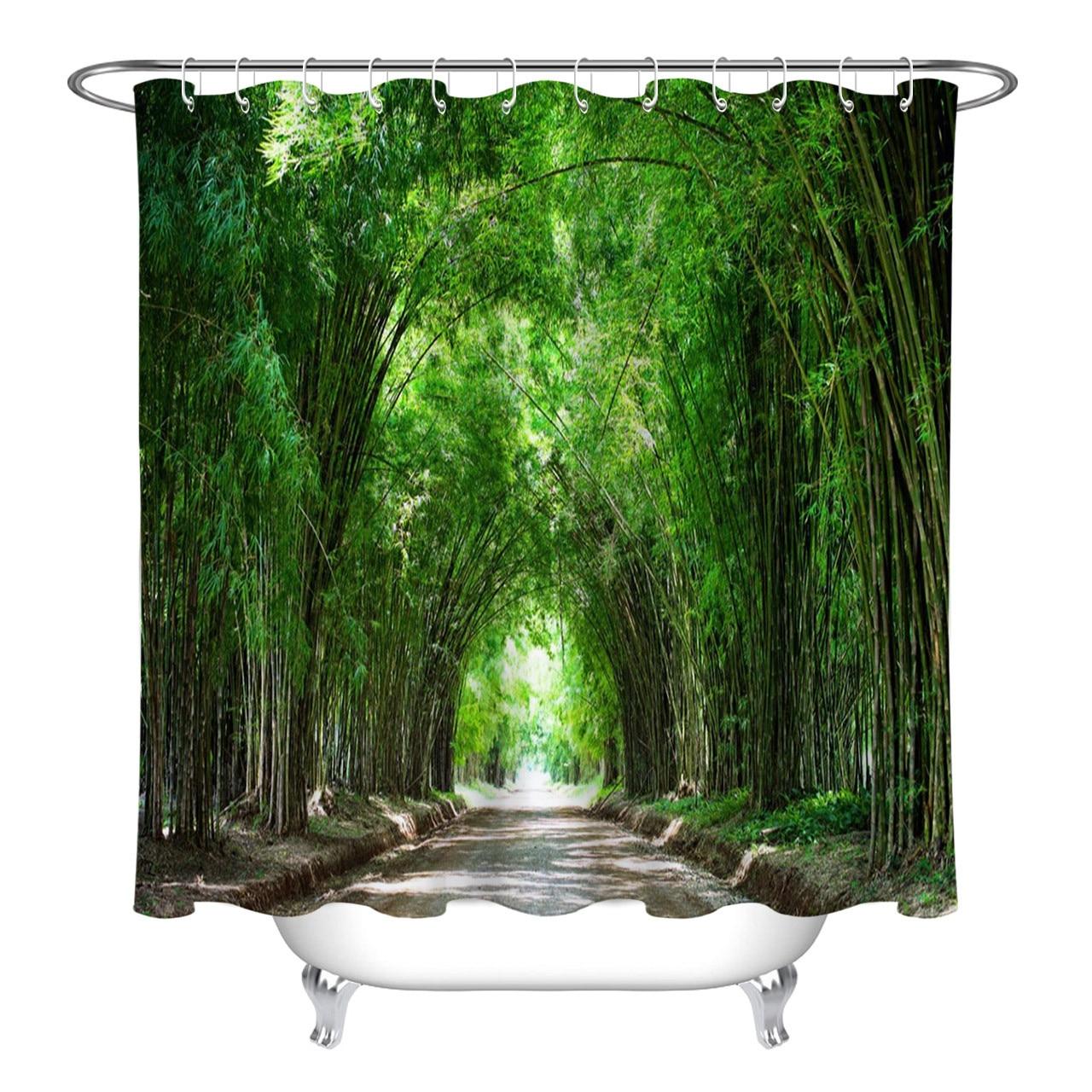 Home Garden Green Bamboo Forest View Shower Curtain