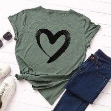 Plus tamaño S-5XL nuevo corazón impresión T camisa las mujeres 100% algodón manga corta cuello en O camiseta de verano Tops Casual camiseta camisas de mujer