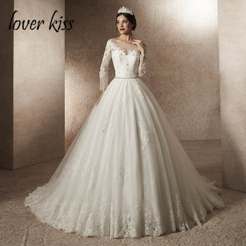 Lover Kiss Robe De Mariage Princesse Beaded Luxury Wedding Dress Long Sleeves Lace Fall Wedding Gown For Brides Vestido De Noiva Wedding Dresses Aliexpress