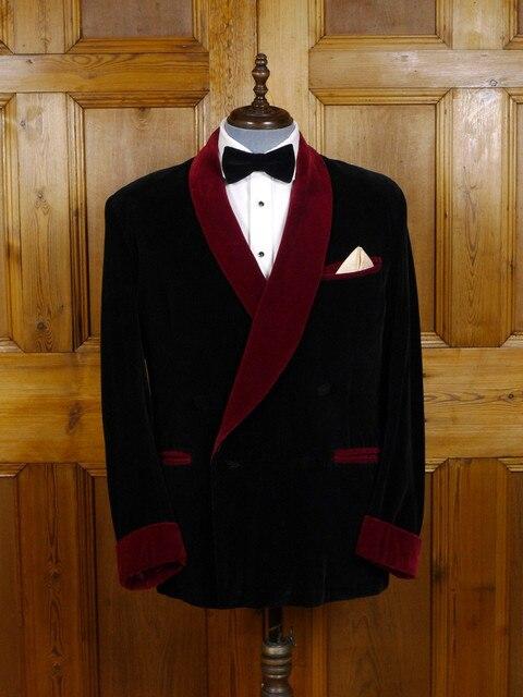 Latest Coat Pant Designs Black Velvet Men Suit Smoking Jacket Slim Fit 2 Piece Tuxedo Custom Groom Blazer Wedding Suits Ternos