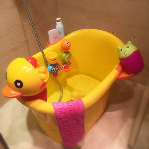 Shower-Basin Bath-Bucket Baby-Tub Plastic Children's Duck Can Sit Cartoon Oversized Thickening
