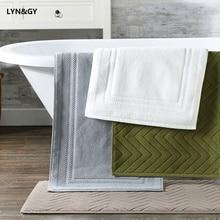 LYN&GY 100% Cotton Lxuray Geometric Plaid Hotel Bathroom Foot Towel Door Bathmat Machine Washable 45x75cmx380grams mat