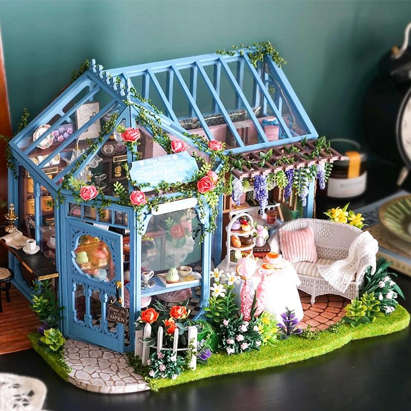 Cutebee diy casa de bonecas casas de bonecas de madeira em miniatura casa de bonecas móveis kit casa música led brinquedos para crianças presente aniversário a68c