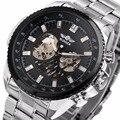 Vencedor dos homens Relógio Mecânico Automático Skeleton Dial Prata Aço Inoxidável Strap Esporte Militar relógios para Homens Designer de Retro