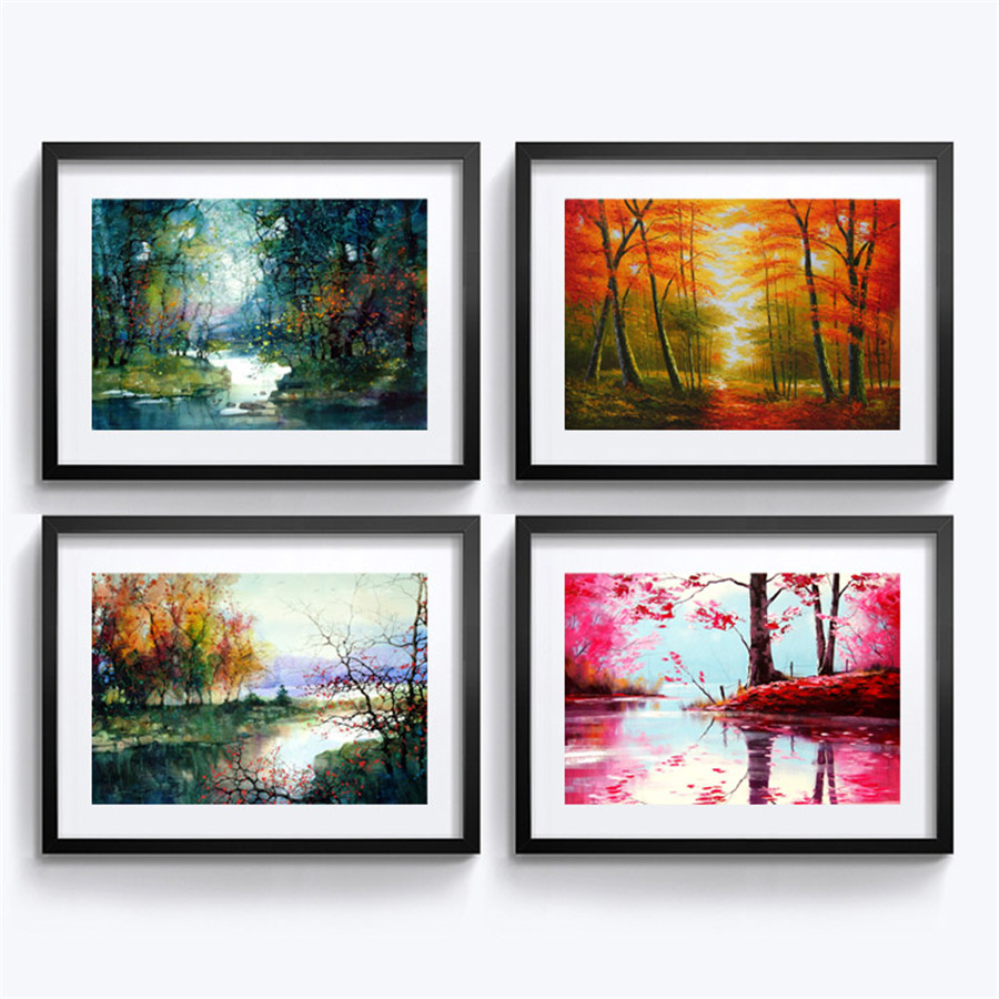 Framed Painting European Landscape Pictures Wall Decoration Mural Modern Home Living Room Art Paintings In Calligraphy