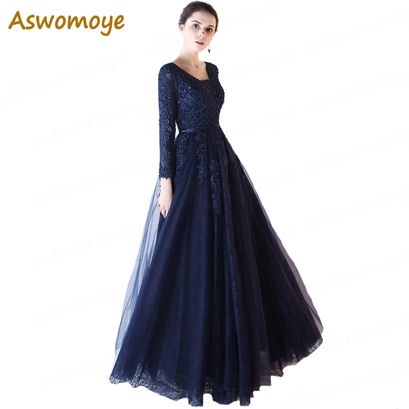 Aswomoye High Quality Evening Dress Long Elegant Cheap Party Dresses A-Line Prom Dress For Students Appliques Robe De Soiree