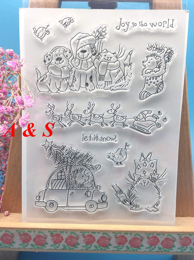 Dog Hedgehog Christmas Transparent Clear Stamp DIY