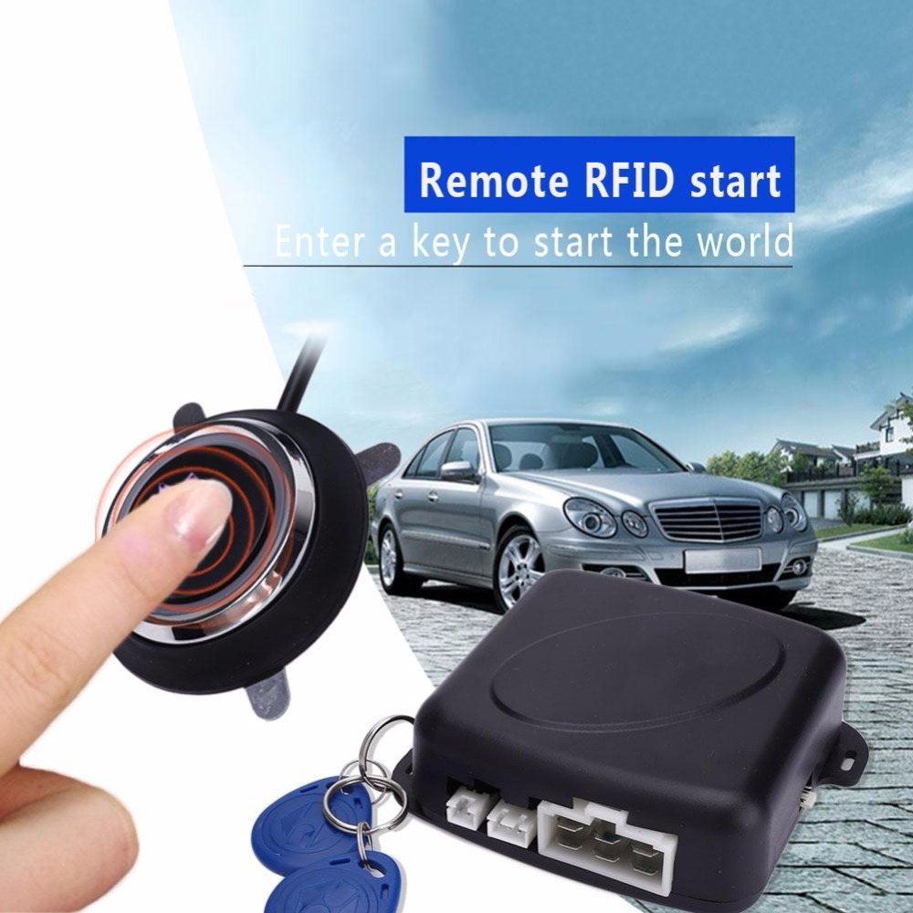 Vehemo DC 12V Auto Car Alarm Engine Starline Push Button Start Stop RFID Lock Ignition Switch