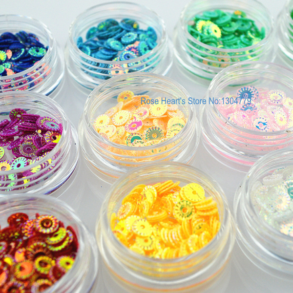 12 Laser Colors 3D Pierced Glitter Nail art Sequins Decals For Nail ...