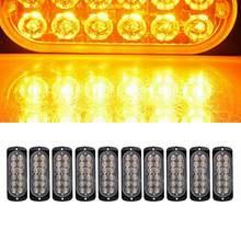 10pc carro amarelo 12 led de emergência aviso flash strobe luz kit barra caminhão
