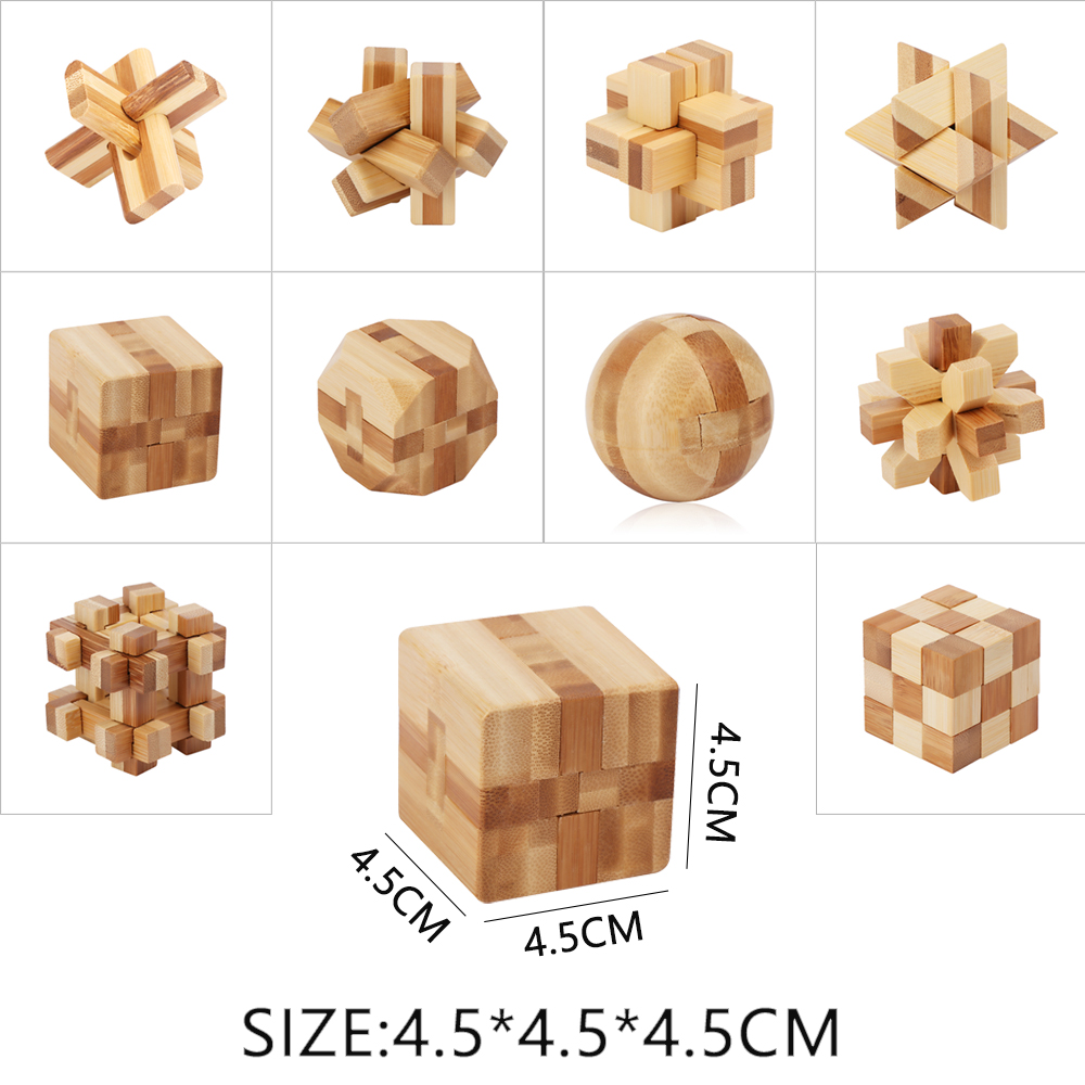 1PC New Funny Design IQ Brain Teaser Kong Ming Lock 3D Wooden Interlocking  Burr Puzzles Game Toy For Adults Kids