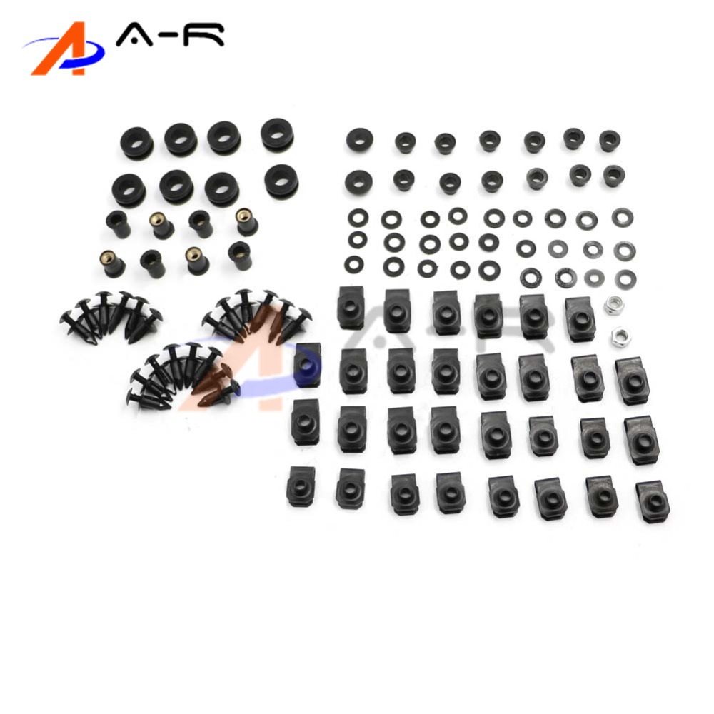 Black Complete Motorcycle Fairing Bolt Kit For Yamaha YZF-R1 2007-2008 Body Screws and Hardware Fasteners