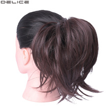 Delice Girls Rubber Band Straight Big Scrunchie Brown Burg Elastic Donut Chignon Wrap Hair Ring Synthetic Hairpiece 45g