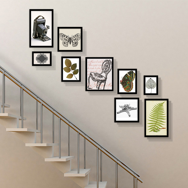 Retro Photo Frame European Style Collage Frames Stair Photo Wall Set