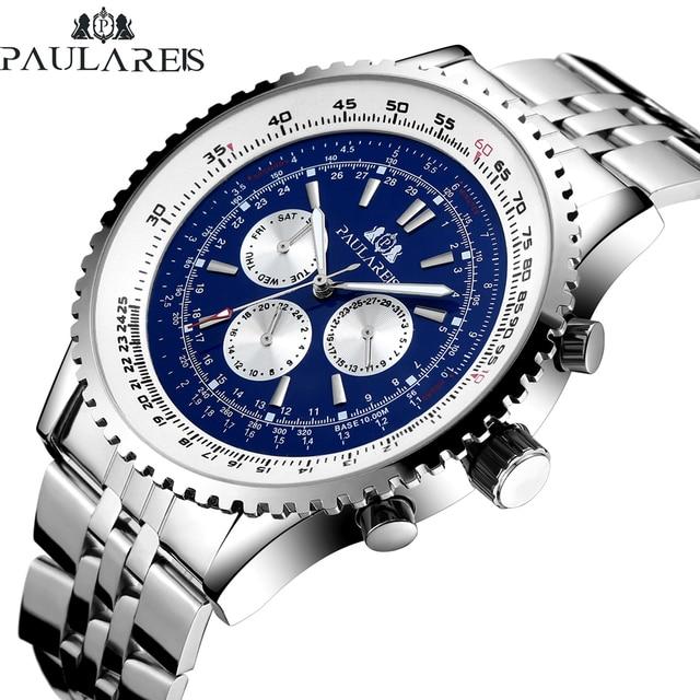 Hommes automatique auto vent mécanique en acier inoxydable bracelet mode sport bleu noir blanc grande 50mm montre classique