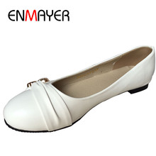 ENMAYER Fashion Flats Women Shoes Large Size 34 47 Female Ballet Shoes Closed Toe Spring and
