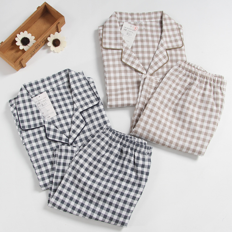 Men's Short-sleeved Summer Cotton Yarn Nightwear Plaid Turn-down Collar Men Pajama Sets Plus Size Pijama Pajamas Sleeping Suits(China)