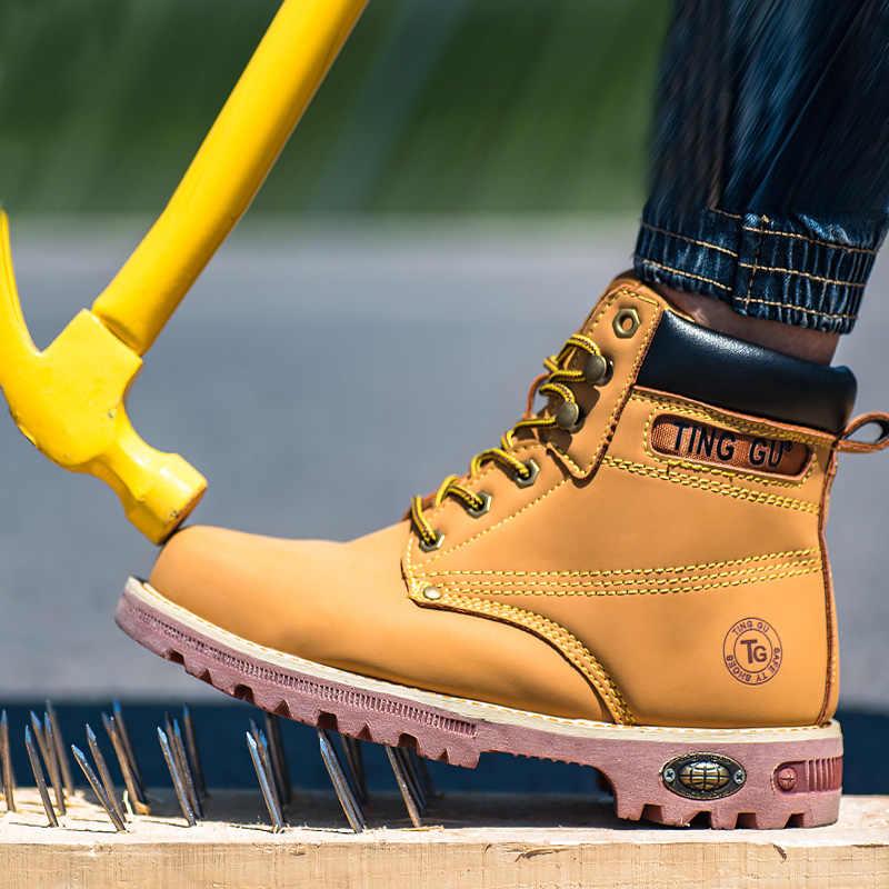 Брендовые мужские рабочие ботинки мужские стальные проколы строительные защитные сапоги для мужчин Ботинки martin Мужская Рабочая страховка прокол обувь
