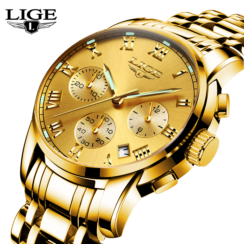 Relogio Masculino LIGE Mens Gold Watches Top Brand Luxury Fashion Casual Quartz-watch Men Sport Full Steel Waterproof Wristwatch woonun top famous brand luxury gold watch men waterproof shockproof full steel diamond quartz watches for men relogio masculino