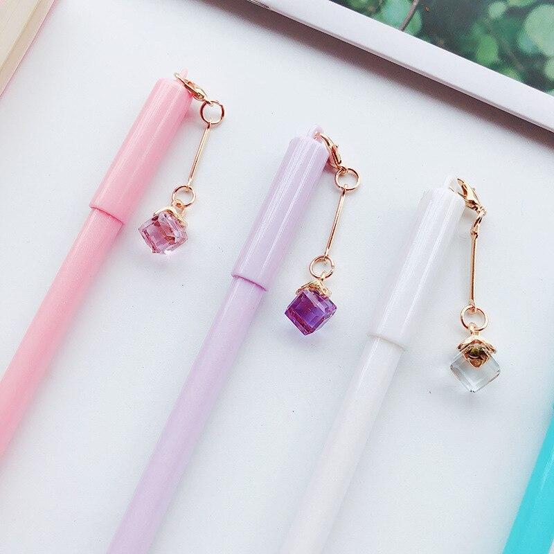 4pcs Mini cor pingente de cristal conjunto de canetas gel 0.5 milímetros de tinta Preta canetas para escrever Escritório Papelaria presente da menina material escolar A6550
