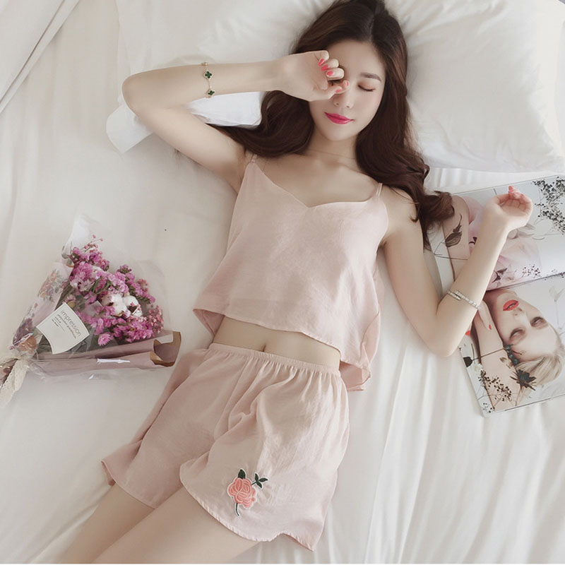 2018 Sexy   Pajama     Sets   Women V neck 2 Pieces   Set   Cotton T shirt Top + Shorts Elastic Waist White Pink Black Grey Casual Pijama