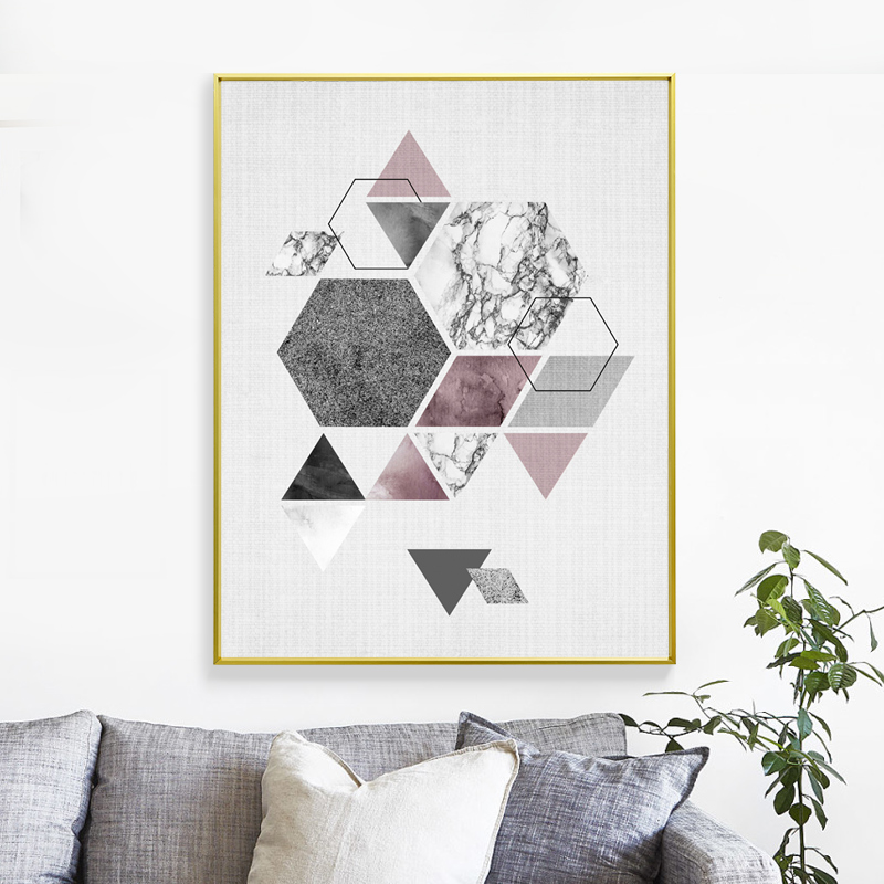 Nordic Geometric picture Aluminum Alloy Metal Photo Frame A4 Posters Kids Wall Art Print Picture Deco Frame Canvas Painting