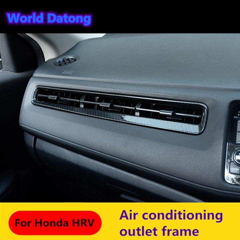 Interior Car air conditioning outlet cover Carbon fiber black decoration trim 5pcs for Honda HRV HR-V VezeL RHD 2014 2015 2016