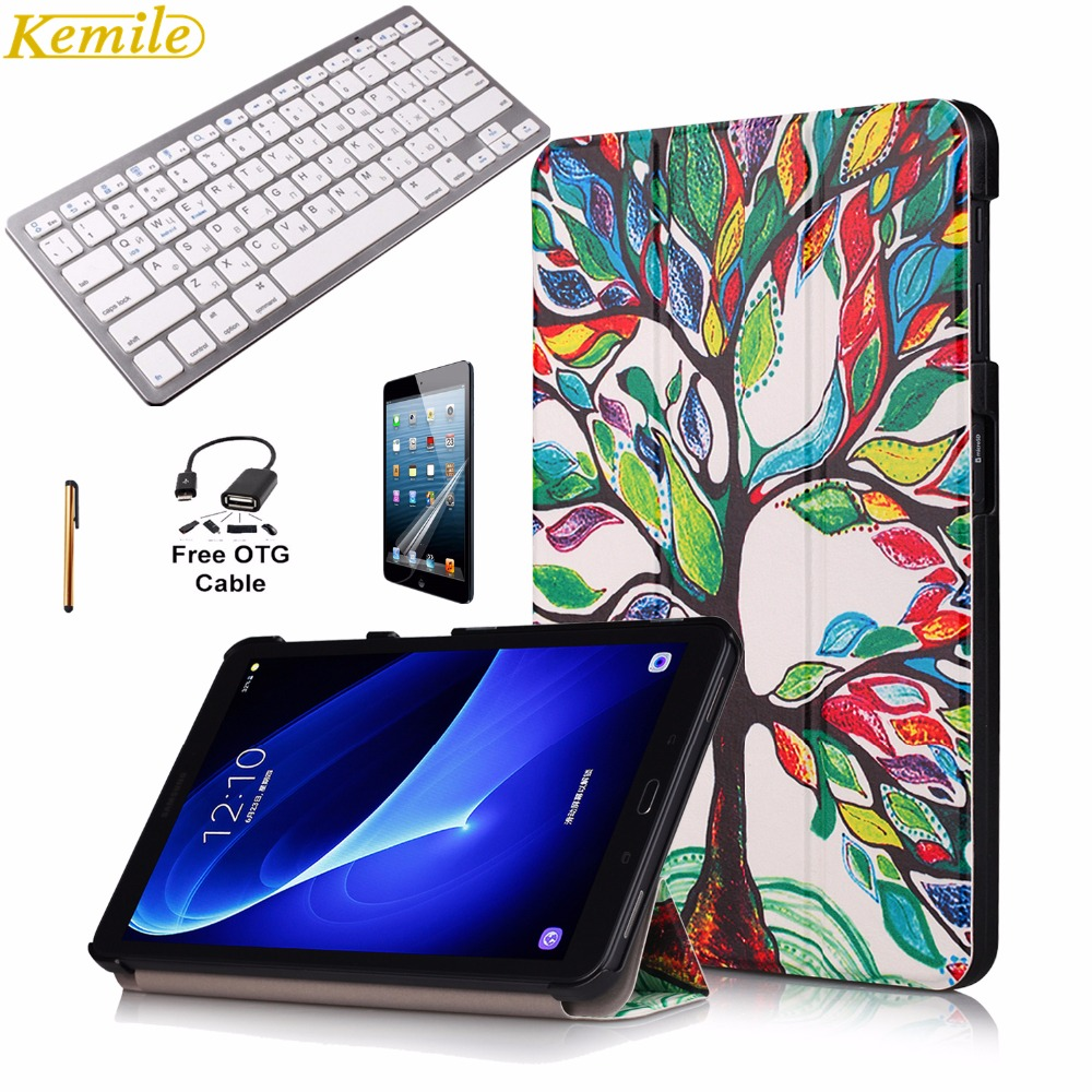 Kemile Ultra Slim Magnetic Print Smart Case Cover for Galaxy Tab A 10.1 T580 T585 with Wireless Bluetooth 3.0 Russian Keyboard