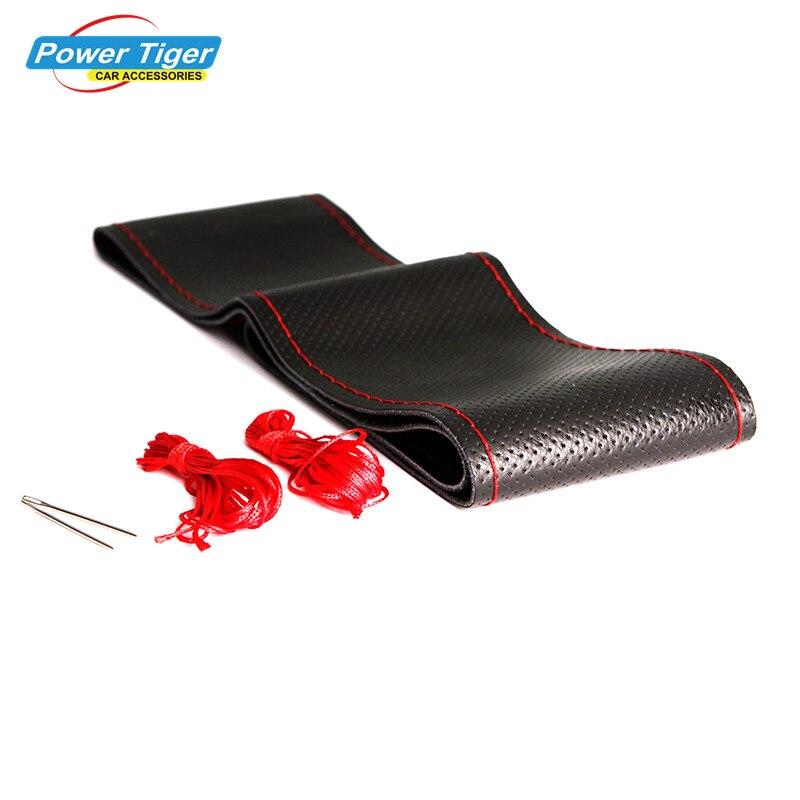 Todo el tamaño 36-40 cm car styling Cuero auténtico auto coche volante tapa antideslizante decoración del coche con Agujas y Hilos
