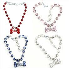 Fashion Pet Dog Jewelry Necklace Bone Shape Collar  Supplies Rhinestone Tag Accessory