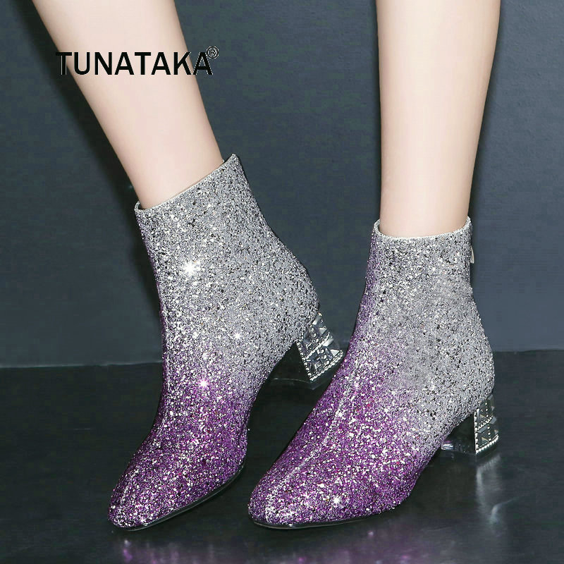 Women Comfortable Low Heel With Back Zipper Ankle Boots Fashion Bling Mixed Colors Winter Shoes Black