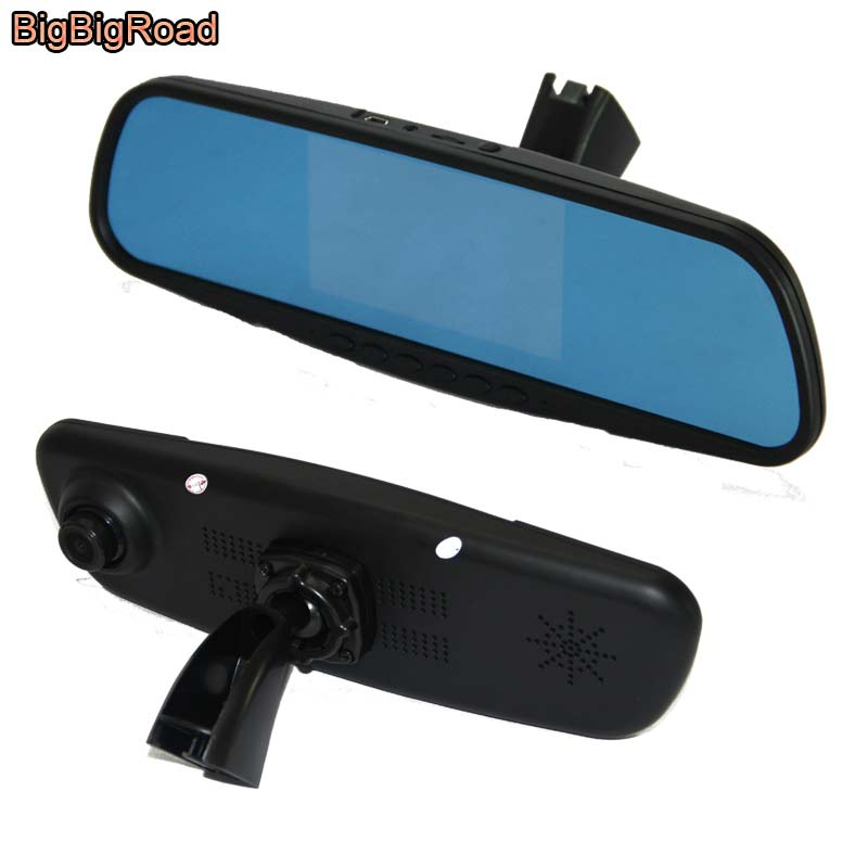 BigBigRoad Car Mirror DVR Camera Dash Cam Blue Screen Dual Lens Video Recorder with Original Bracket For citroen C2 bigbigroad for vw tiguan routan car dvr blue screen dual lens rearview mirror video recorder 5 inch car black box night vision