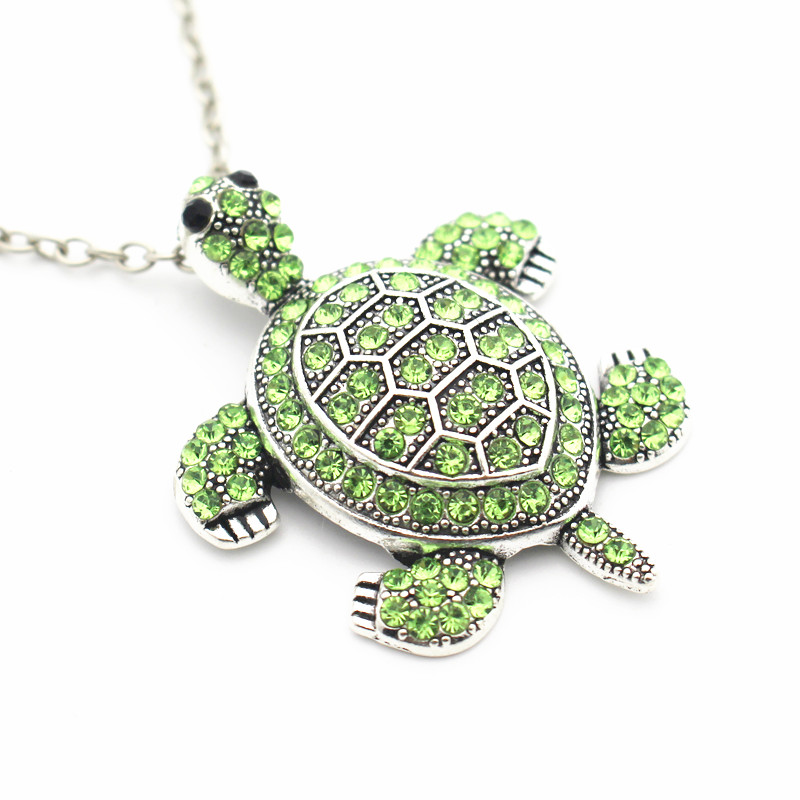 Hot Sale 1pcs Metal Chains Necklace Jewelry Vintage Turtle Green Full Rhinestone Pendant Necklace Fashion Jewelry pendant