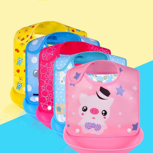 DreamShining Cartoon Animal Baby Bibs Waterproof Silicone Newborn Bandana Cute Baby Feeding Burp Cloth Accessories 14 Color
