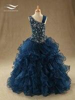 Новая коллекция Элегантный органзы Scoop длиной до пола Длина ТРАПЕЦИЕВИДНОЕ свадебное платье Бусины узор свадебное платье сшитое реальные ф