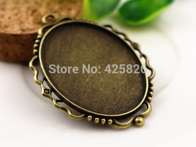 New Fashion 5pcs 30x40mm Inner Size Antique Bronze Pierced Style Cabochon Base Setting Charms Pendant (B2-09)