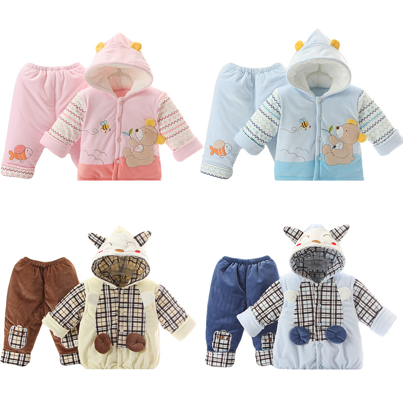Baby Boys and Girls Winter Warm Coat Jacket Thick Cotton Padded Winter  Baby Suit Hooded Vest two piece Baby's Sets Clothing winter new fashion women coat leisure big yards thick warm cotton cotton coat hooded pure color slim fur collar jacket g2309