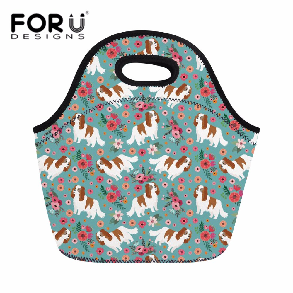 FORUDESIGNS Neoprene Lunch Bag for Women Cavalier King Charles Print Food Fruit Bag Feminine Cute Thermal Cooler Office Meal Ba