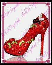 Aidocrystal designer schuhe frauen luxus 2016 rote kristall kirsche schmücken sexy high heels stiletto schuhe hochzeit schuhe