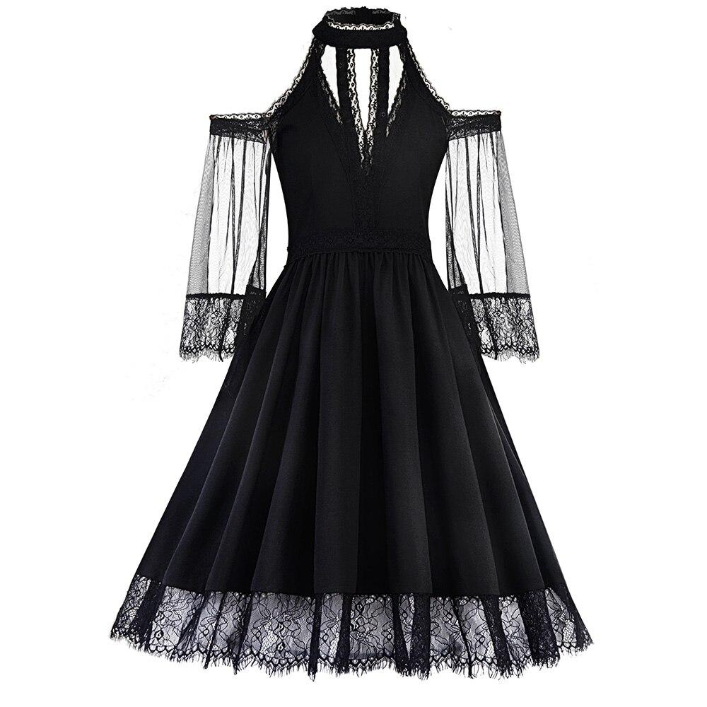 Mesh Black Expansion De See Robes Robe Dos Dentelle Bustier Partie Manches Nu Sexy Swing Goth through Femmes D'été Courtes XOZTPkwiu