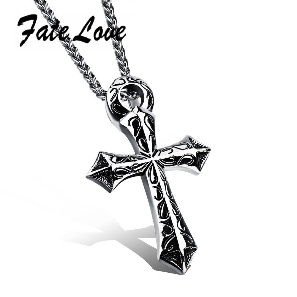 Cross Pendant Punk Gift 316L Stainless Steel Jesus Pendant Necklace Men Jewelry 2 Kinds <font><b>of</b></font> Long Chain 60CM Free <font><b>Choice</b></font> FL976