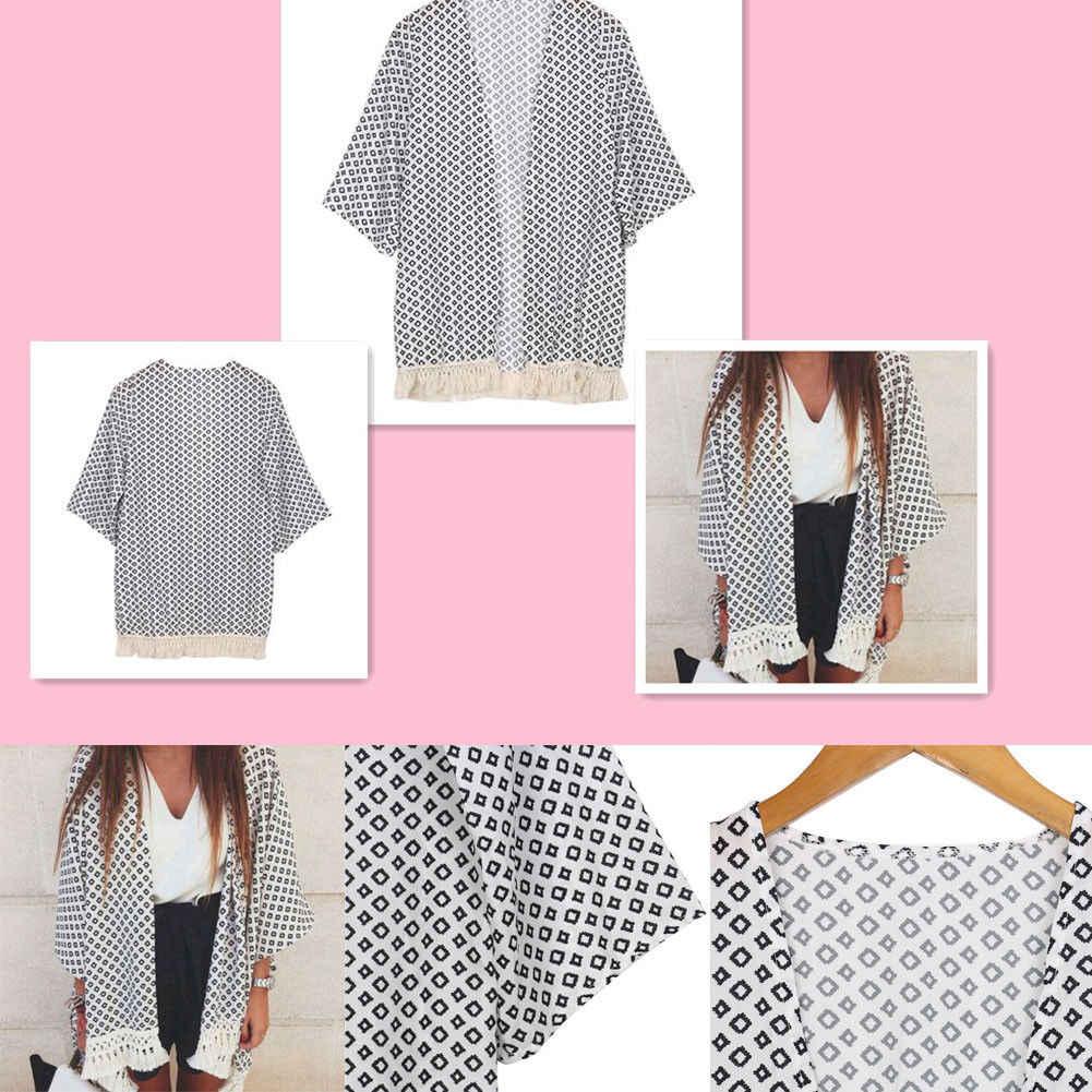 Stylowy gorąca sprzedaż kobiet w stylu Vintage luźna bluzka lato Boho płaszcz z szyfonu szal Kimono koronki z długim rękawem sweter topy Blose